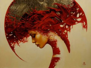 art-woman-shapes-patterns-fantasy-gothic-red-portrait-painting-surrealism-headdress